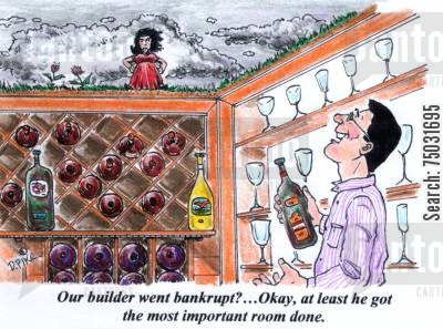 building contract cartoon humor: 'Our builder went bankrupt?...Okay, at least he got the most important room done.'