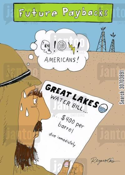 oil fields cartoon humor: Future Paybacks - water, $400 per barrel