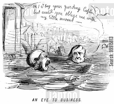 business cartoon humor: Man asking for money back whilst swimming in the sea