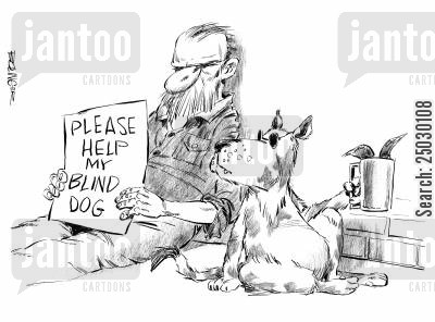 handicaps cartoon humor: Man begging for his blind dog.