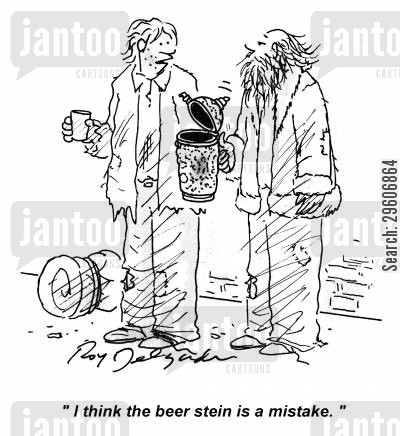 coin cartoon humor: 'I think the beer stein is a mistake.'