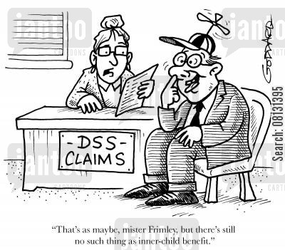 ageism cartoon humor: 'That's as maybe, mister Frimley, but there's still no such thing as inner-child benefit.'
