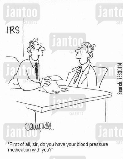 heart problem cartoon humor: 'First of all, sir, do you have your blood pressure medication with you?'