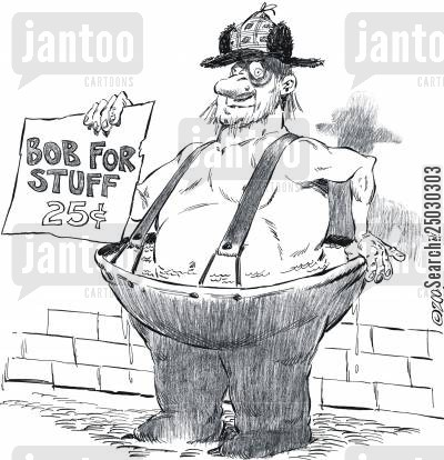 freeloader cartoon humor: Man in filled waders - 'Bob for stuff'.