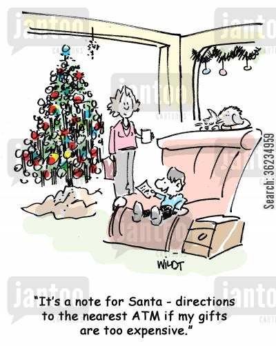 christmas presents cartoon humor: Kid writes directions to ATM machine for Santa if gifts are too expensive