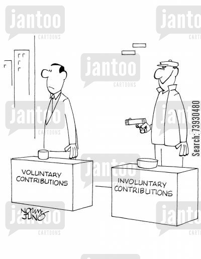contribution cartoon humor: Solicitors looking for charitable contributions. One solicitor has a gun.