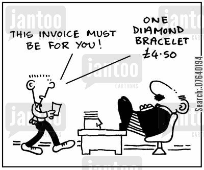 diamonds cartoon humor: 'This invoice must be for you: one diamond bracelet $4.50.'