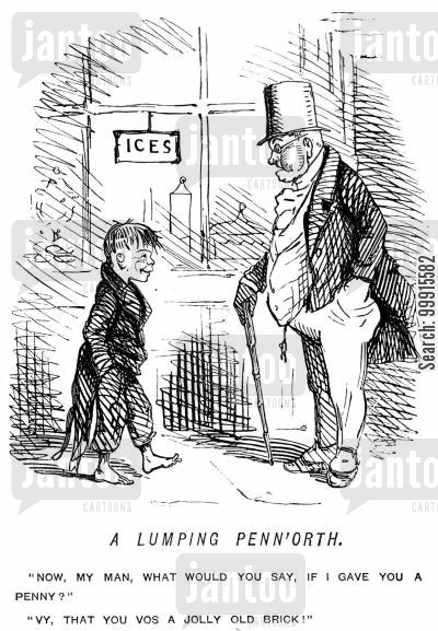 kind cartoon humor: Man offering a boy a penny