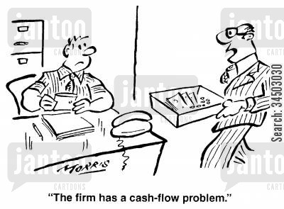 contribution cartoon humor: The firm has a cash-flow problem.
