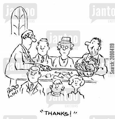 swiped cartoon humor: Man swiping money from the sunday collection and saying 'Thanks!'