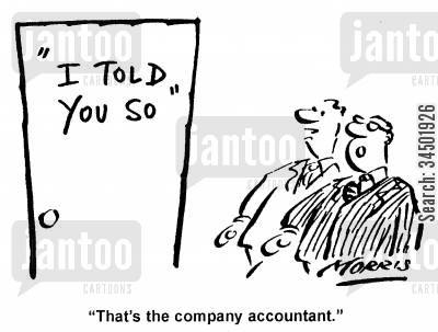 company accountants cartoon humor: That's the company accountant.