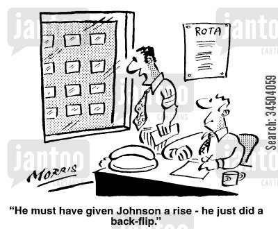 suicide attempts cartoon humor: He must have given Johnson a rise - he just did a back flip.