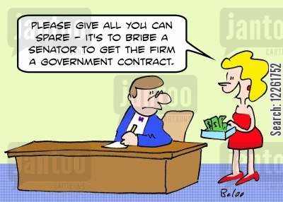 government contract cartoon humor: 'Please give all you can spare -- it's to bribe a Senator to get the firm a Government contract.'