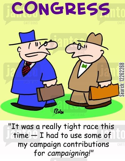 election races cartoon humor: CONGRESS, 'It was a really tight race this time -- I had to use some of my campaign contributions for CAMPAIGNING!'