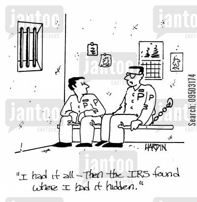 hider cartoon humor: 'I had it all - the the IRS found where I had it hidden.'