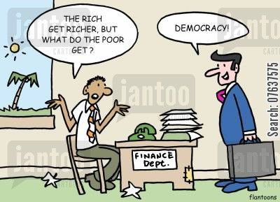overseas aid cartoon humor: 'The rich get rich, but what do the poor get?'