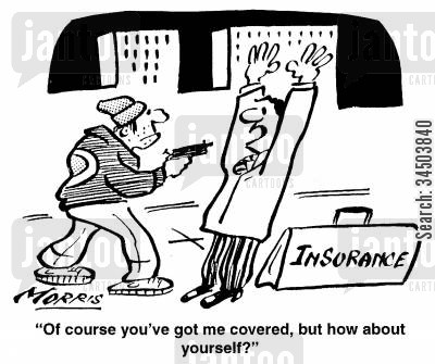 opportunism cartoon humor: Of course you've got me covered, but how about yourself?