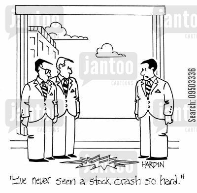 traded cartoon humor: 'I've never seen a stock crash so hard.'