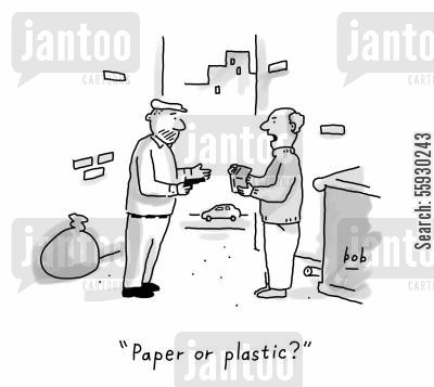 gun crime cartoon humor: Paper or plastic?