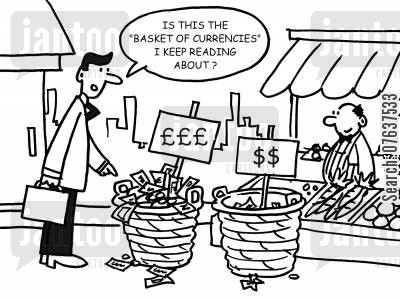 foreign currency cartoon humor: 'Is this the basket of currencies I keep reading about?'