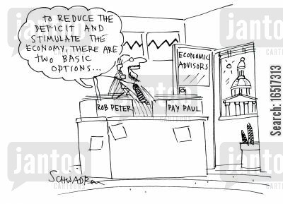 reducing cartoon humor: 'To reduce the deficit and stimulate the economy, there are two basic options...'