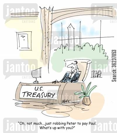 national debt cartoon humor: '...just robbing peter to pay paul...what's up with you?'