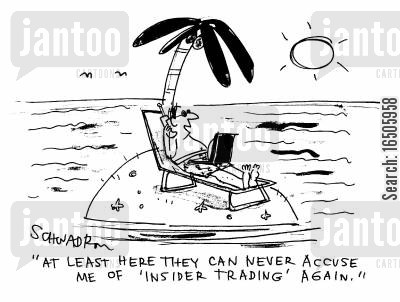 desert island cartoon humor: 'At least here they can never accuse me of 'insider trading' again.'