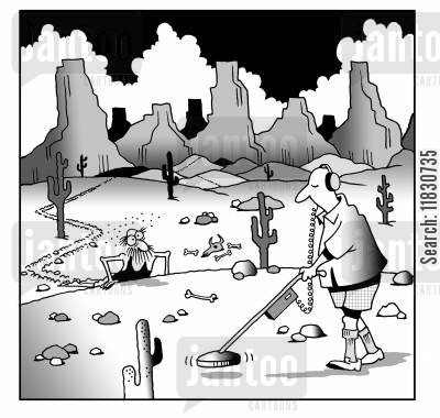 lost treasure cartoon humor: Man with a metal detector oblivious to man lost in the desert.