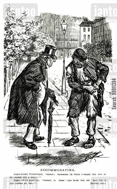 pennies cartoon humor: Beggar gives a man change for a shilling