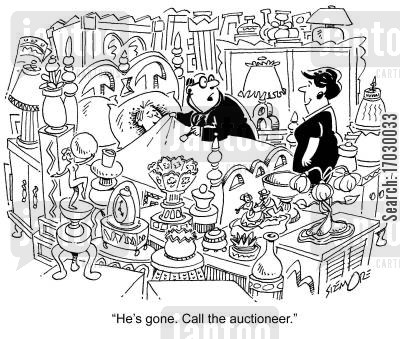 no next of kin cartoon humor: 'He's gone. Call the auctioneer.'