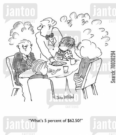 percentages cartoon humor: 'What's 5 percent of $62.50?'
