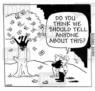 money tree cartoon humor: Do you think we should tell anyone about this?