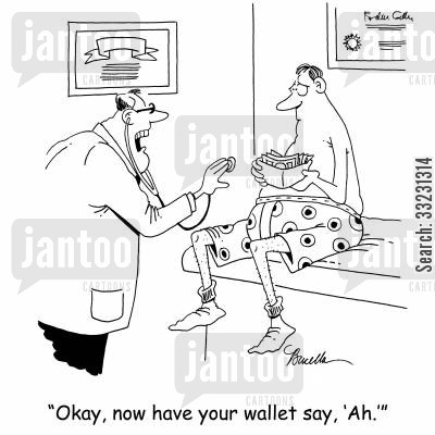 open up cartoon humor: 'Okay, now have your wallet say, 'Ah.''