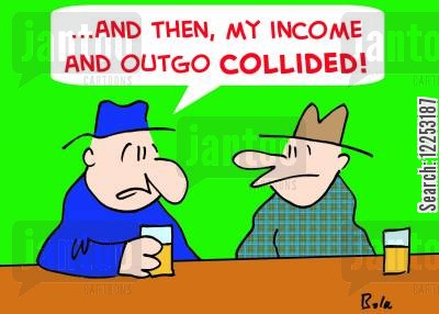 collided cartoon humor: '...And then, my income and outgo collided!'