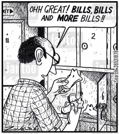 beak cartoon humor: 'Ohh GREAT! BILLS, BILLS and MORE Bills!!'