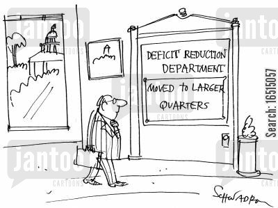 moved to larger quarters cartoon humor: 'Deficit reduction department - moved to larger quarters.'