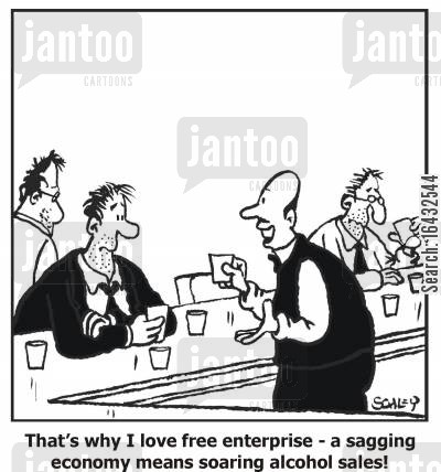 landlady cartoon humor: 'That's why I love free enterprise - a sagging enterprise means soaring alcohol sales!'