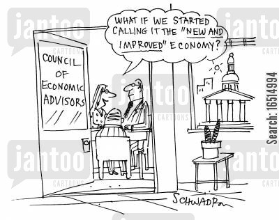 new spin cartoon humor: 'What if we started calling it the 'new and improved economy'?