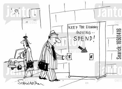 desperate measure cartoon humor: Keeping the Economy Moving....Spend!