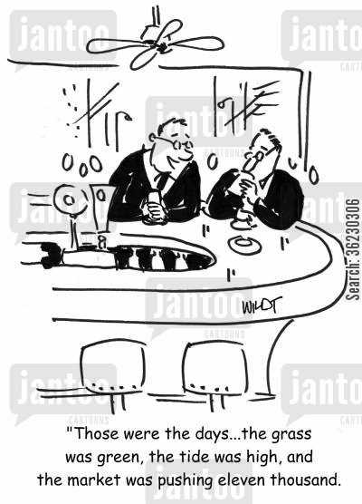 ftse 100 cartoon humor: 'Those were the days...the grass was green, the tide was high, and the market was pushing eleven thousand.'