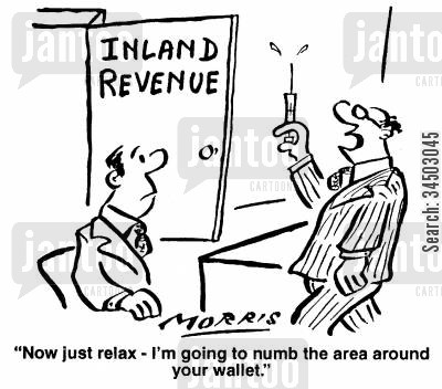 drastic cartoon humor: Now just relax - I'm going to numb the area around your wallet.