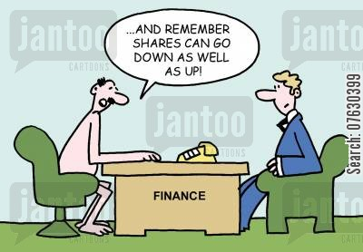 fiancial advice cartoon humor: And remember, shares can go down as well as up!