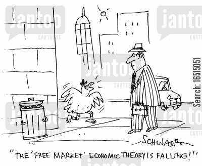 economic theory cartoon humor: 'The 'free market' economic theory is falling!'