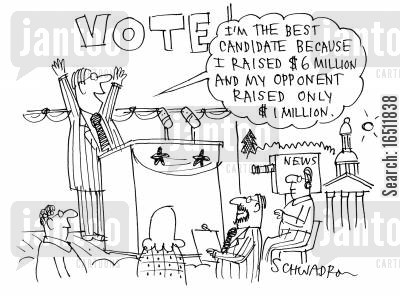 money raising cartoon humor: 'I'm the best candidate because I raised $6 million and my opponent raised only $1 million.'
