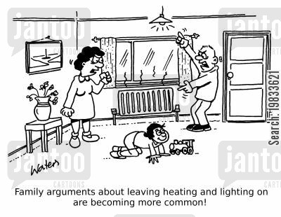 heating bills cartoon humor: Family arguments about leaving heating and lighting on are becoming more common!