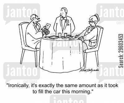 living cost cartoon humor: 'Ironically, it's exactly the same amount as it took to fill the car this morning.'