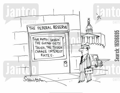 bank accounts cartoon humor: The federal reserve - when the going gets tough, the tough change interest rates.