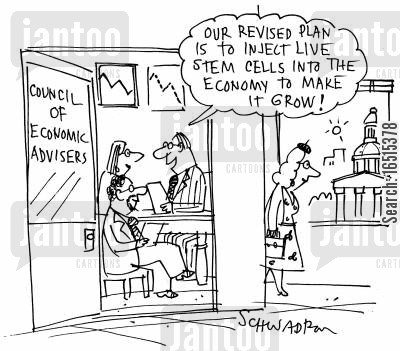 financial plan cartoon humor: 'Our revised plan is to inject live stem cells into the economy to make it grow.'