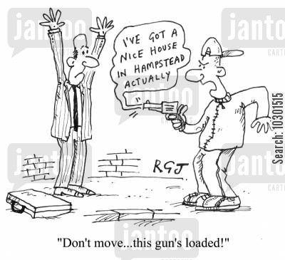 loaded guns cartoon humor: 'Don't move...this gun's loaded!'