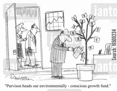 money tree cartoon humor: Purvison heads our environmentally-conscious growth fund